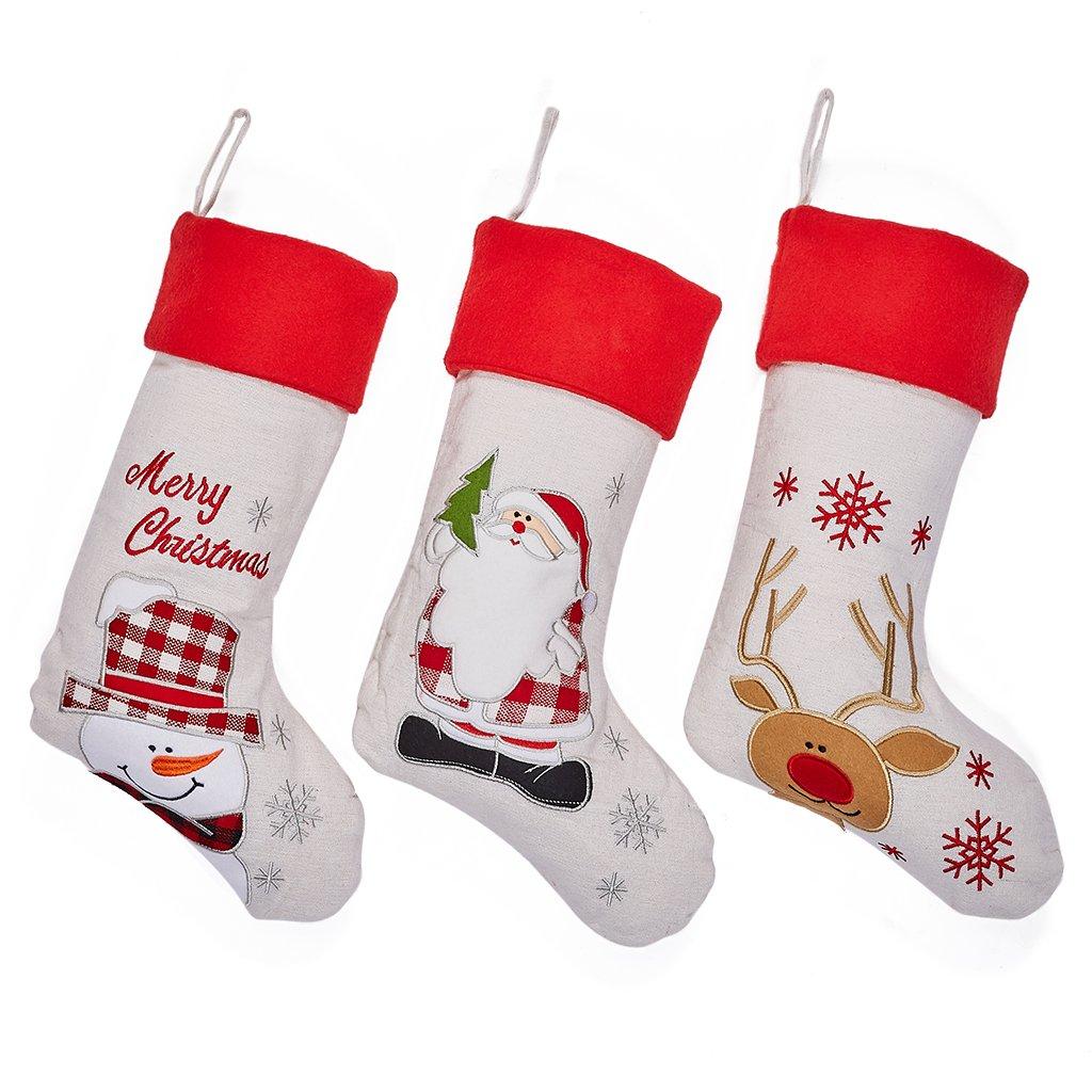 Amazon.com: Set of 3 Christmas Stockings - Large Size 17 inch ...