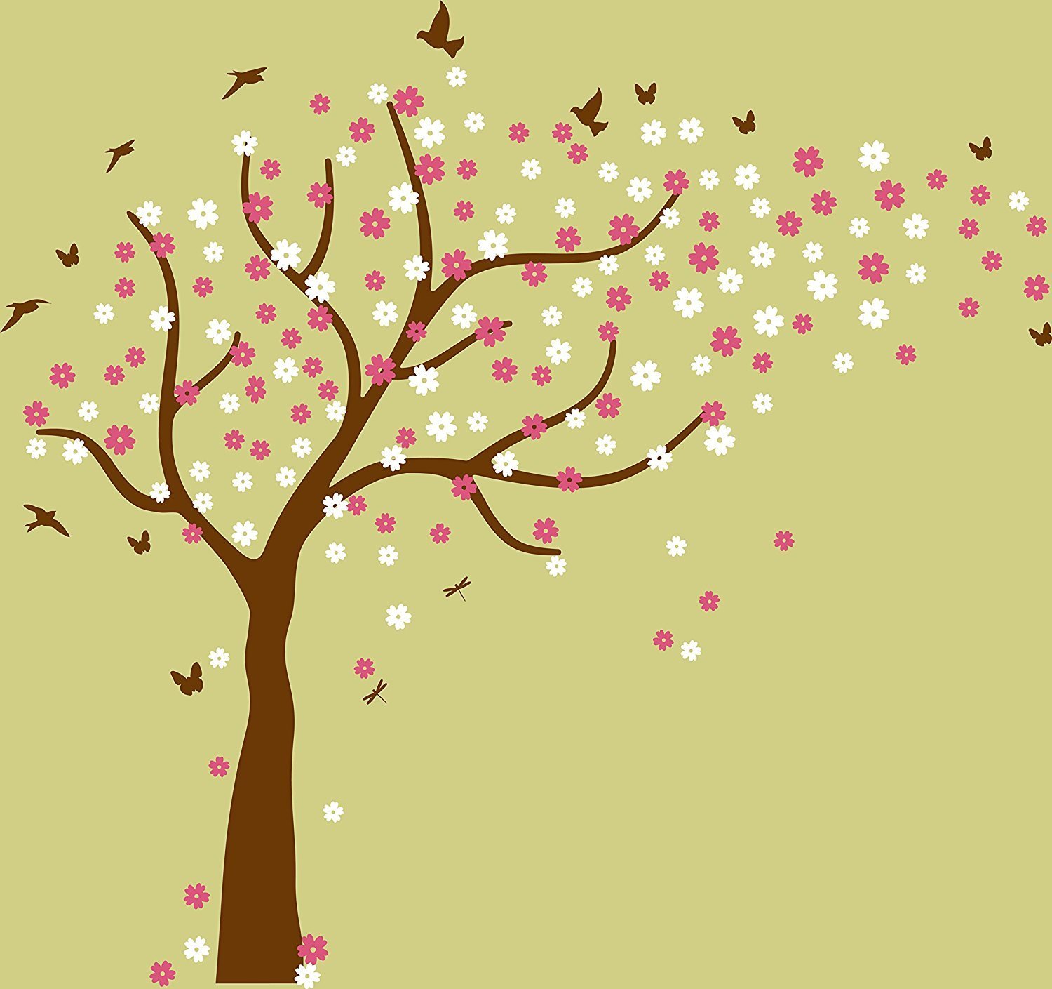 Amazon.com: Family Tree Wall Decals Colorful Cherry Blossom Tree ...