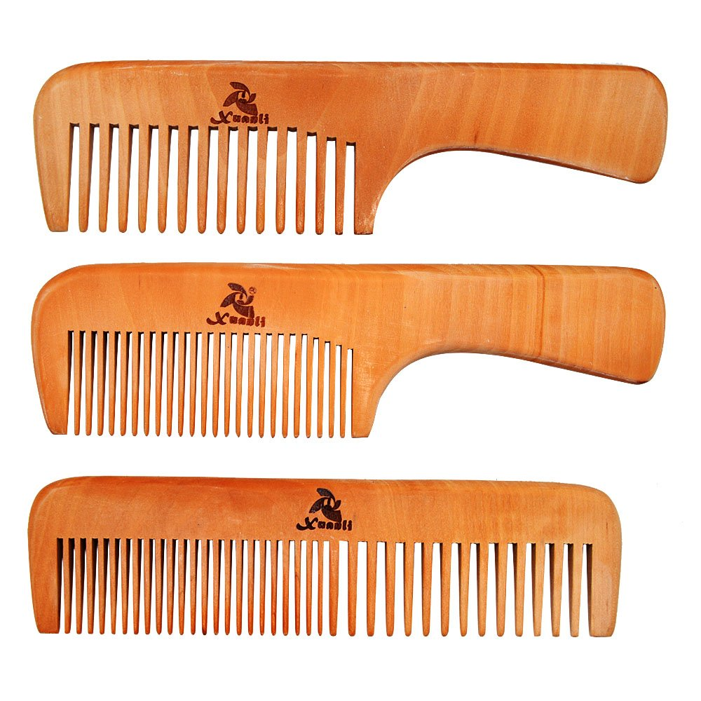 XUANLI Wooden Beard Brush Mustache Comb & Case, Dual Action Fine & Coarse Teeth, Top Pocket Comb for Beards & Mustaches (S022)