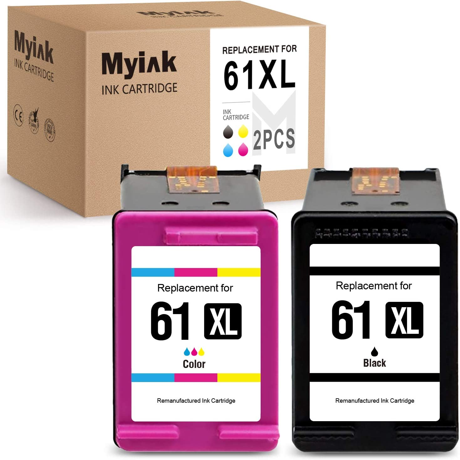 MYINK Remanufactured Ink Cartridge Replacement for HP 61 XL 61XL 1 Black 1 Color, 2 Pack