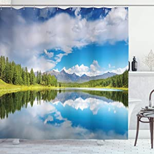 Lunarable Mountain Shower Curtain, Lake and Reflection Scene at The Skirts of Altai Mountain Spring Forest, Cloth Fabric Bathroom Decor Set with Hooks, 70