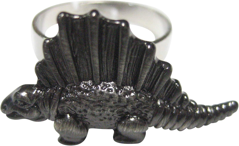 Kiola Designs Gunmetal Toned Textured Dinosaur Adjustable Size Fashion Ring