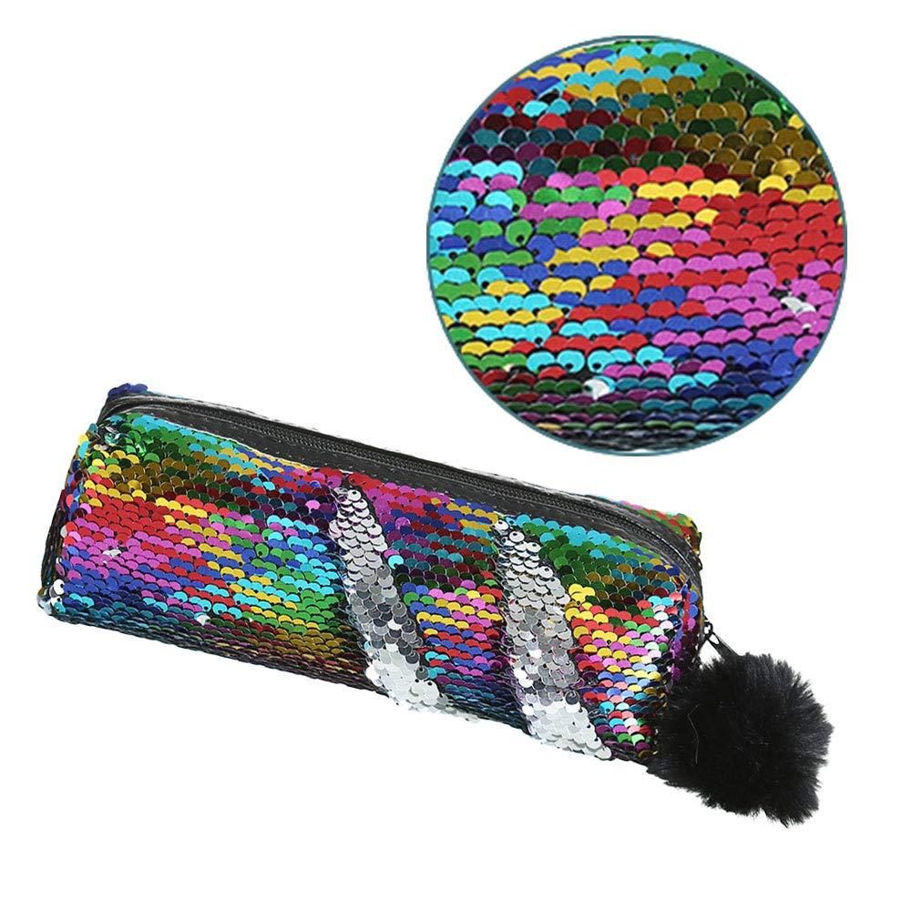 HICOLLIE Grande Trousse /à Crayons R/éversible /à Paillettes Arc-en-ciel