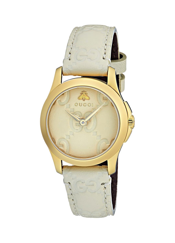 0b1be92b769 Amazon.com  Gucci Quartz Gold-Tone and Leather Casual Ivory Women s Watch(Model   YA126580)  Watches