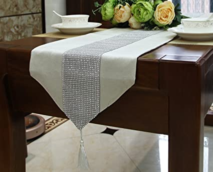 Table Runner With Rhinestone Strip And Tassels Elegant Dining Decorative  Tapestry For Coffee Table Wedding Reception