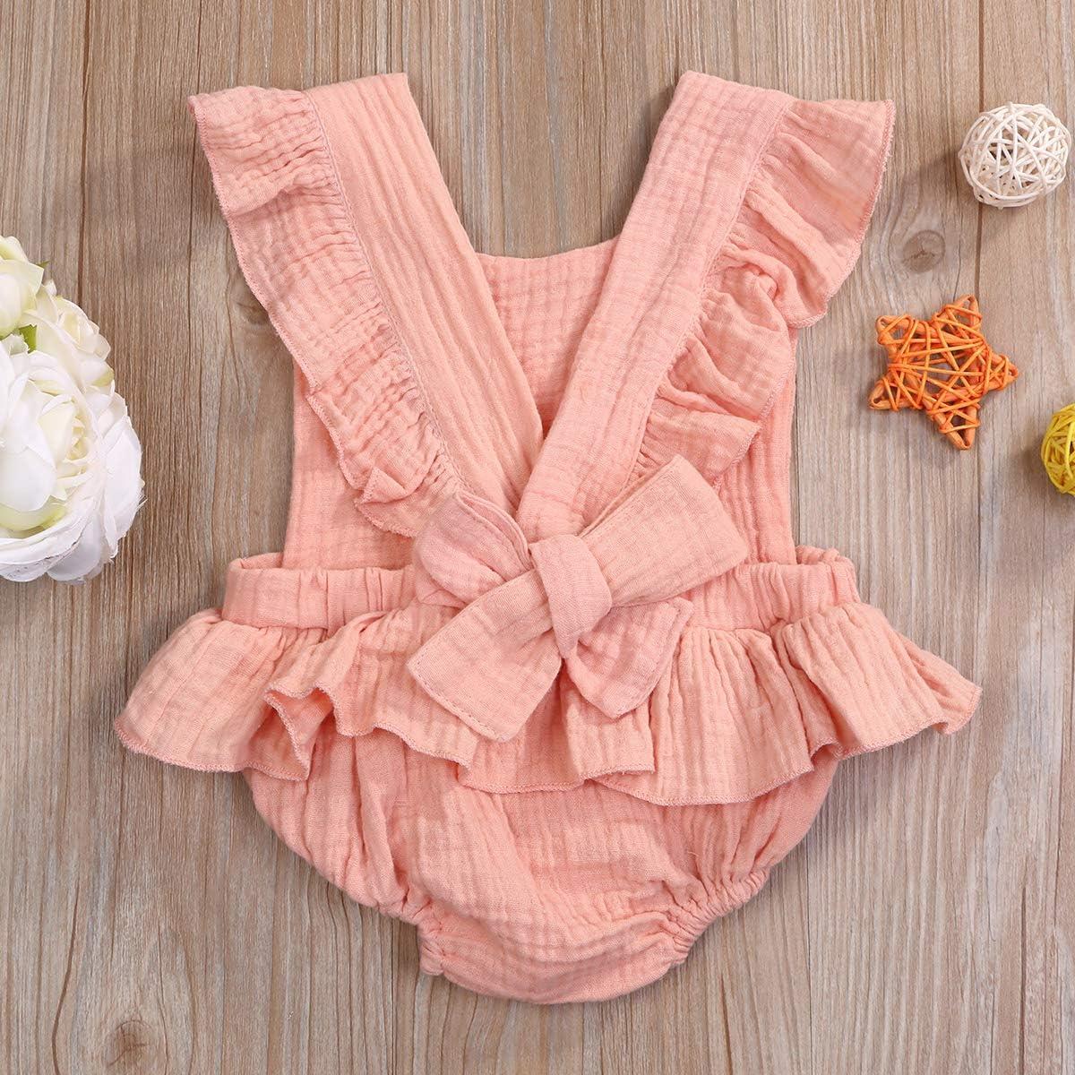 Baby Girl Ruffle Sleeve Romper Newborn Girls Backcross Bodysuit Infant Lotus Leaf Onesie Solid Jumpsuit