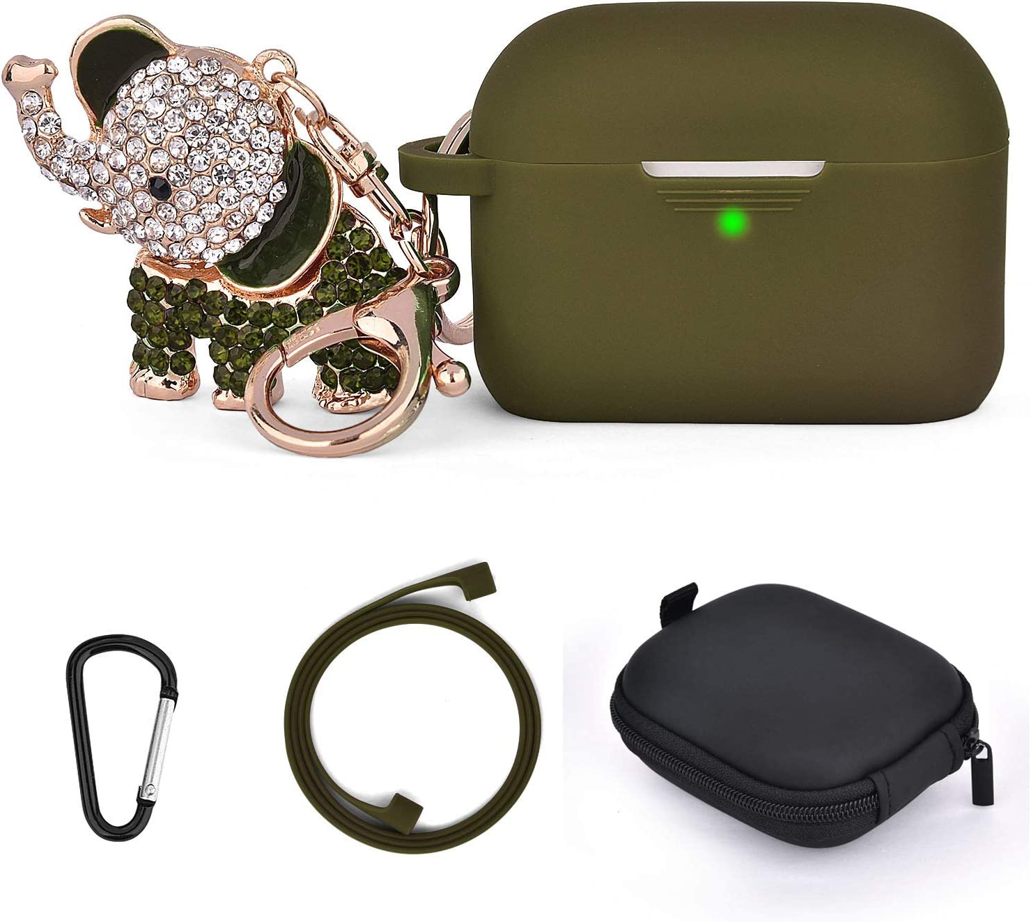 TOROTOP AirPods Pro Case Cover Women Airpod 3 Silicone Protective Case Skin Compatible for Apple Airpod Pro 2019 with Bling Elephant Keychain/Storage Box(Front LED Visible)(Olive)