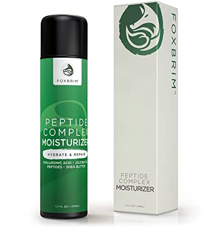 Foxbrim Peptide Complex Moisturizer - Anti-Aging & Wrinkle Peptide Cream - With Hyaluronic Acid, Aloe, Jojoba Oil, Shea Butter - Natural & Organic - 1.7OZ