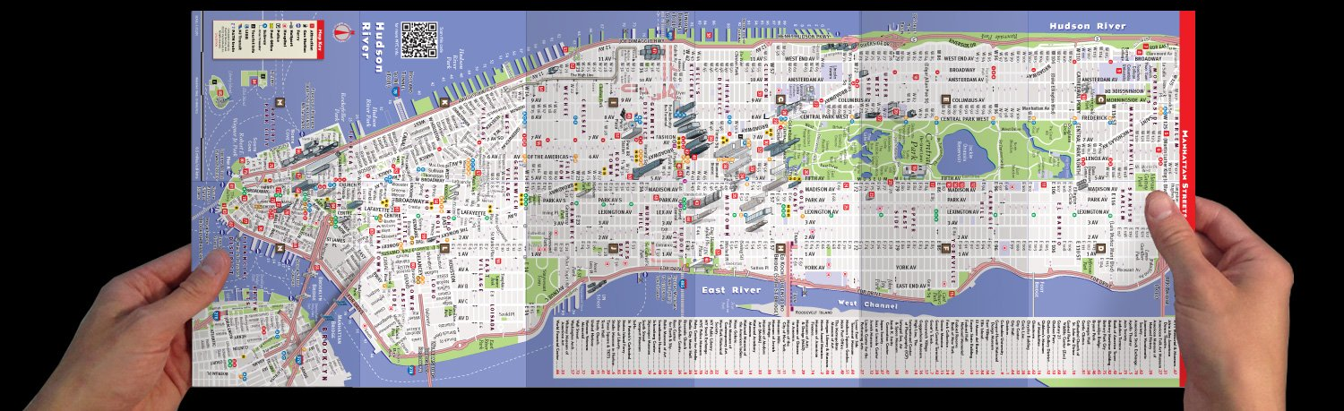streetsmart nyc map by vandam city street map of manhattan ny downtown edition laminated folding pocket size travel and subway map with attractions