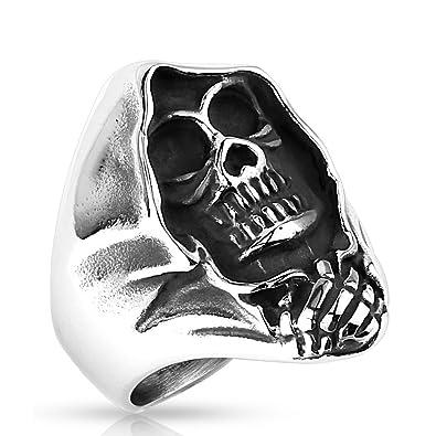 159e8a11acc2 Autiga Skull Skeleton Gothic Punk Men s Skull Ring Solid Stainless Steel  Rocker and Crossbones Silver