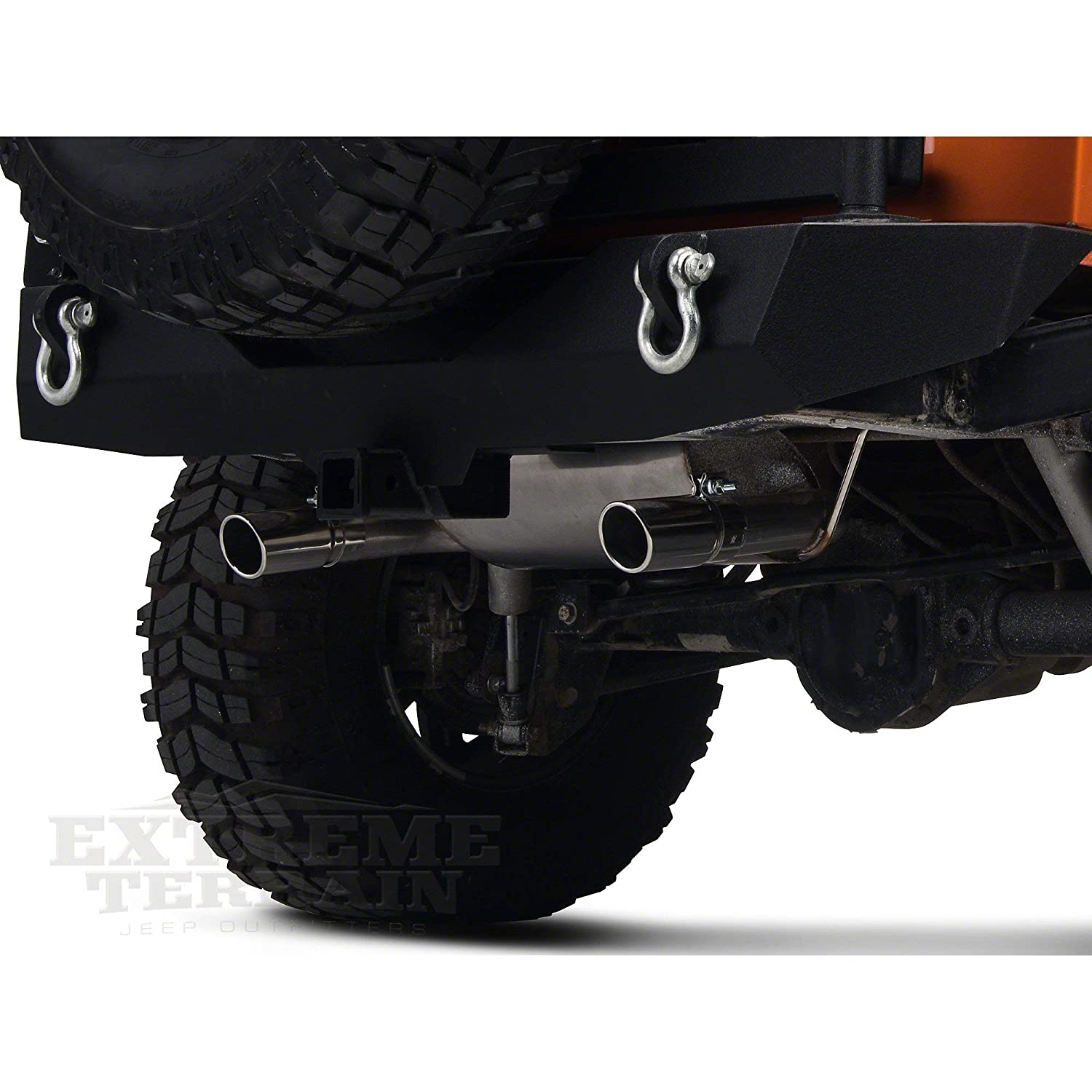 Redrock 4x4 Dual Outlet Axle-Back Exhaust with Black Tips for Jeep Wrangler JK 2007-2018