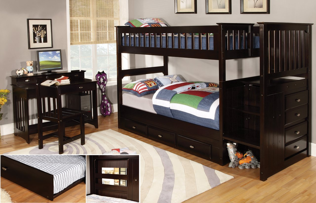 Twin Over Twin Stair Stepper Bed with 3 Drawers, Desk, Hutch, Chair and Entertainment Dresser in Espresso Finish