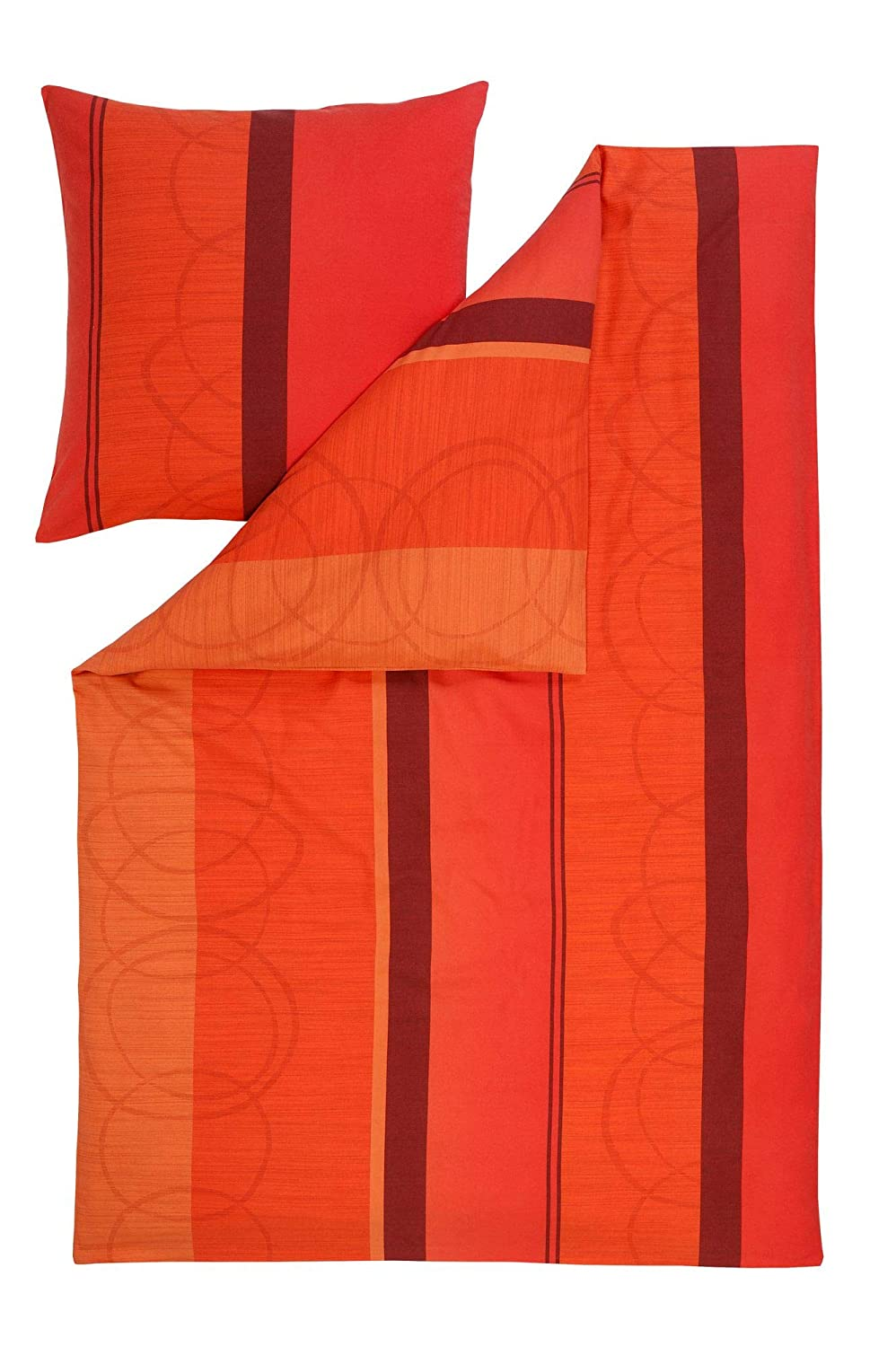 Estella Feinflanell Bettwäsche Dolomiti Orange 155x220 cm + 80x80 cm