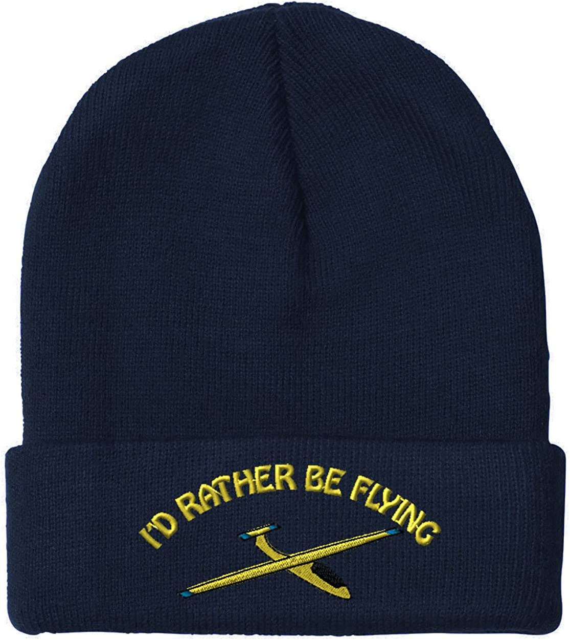 One Size Id Rather Be Flying Sail Plane Sewed Unisex Adult Acrylic Beanie
