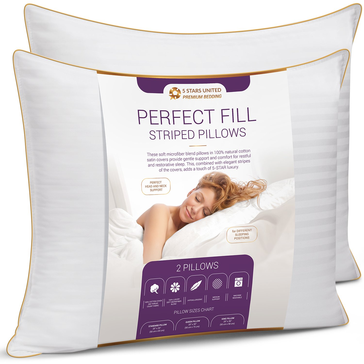 King Size Bed Pillows for Sleeping - 20x36, 2-Pack - Mid Loft - Soft Fiber Fill - Hypoallergenic - Stripe Cotton Covers - Top Alternative to Feather and Down Bedding – Fit California King and Twin Bed by 5 STARS UNITED