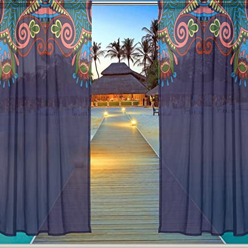 ALAZA Window Sheer Curtain Panels,Christmas Decoration Ethnic Bohemian National Style Floral,Door Window Gauze Curtains Living Room Bedroom Kid's Office Window Curtain 55x84inch Two Panels Set