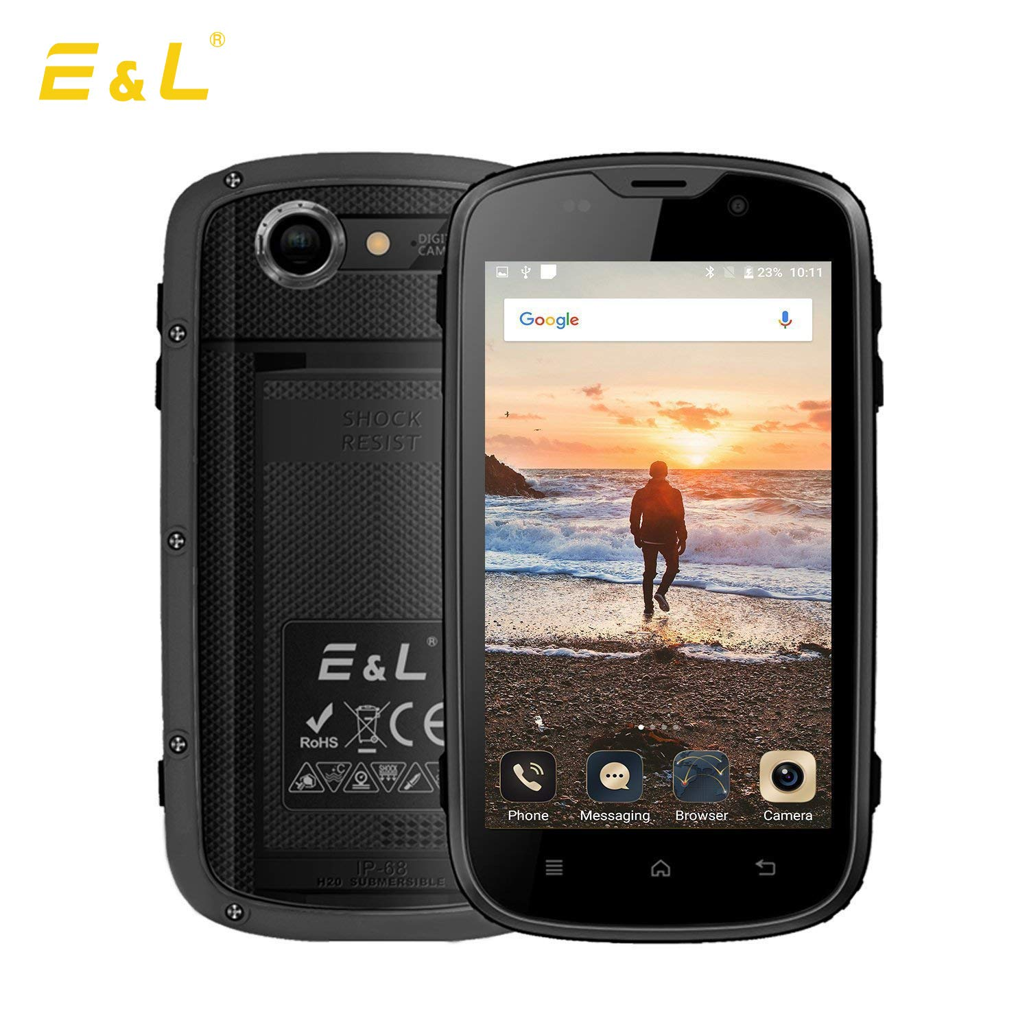 E&L W5S Rugged Unlocked Cellphone with IP68 Waterproof Cellphones 3G Android Rugged Unlocked Smartphone【AT&T/T-Mobile 】 (Gray)