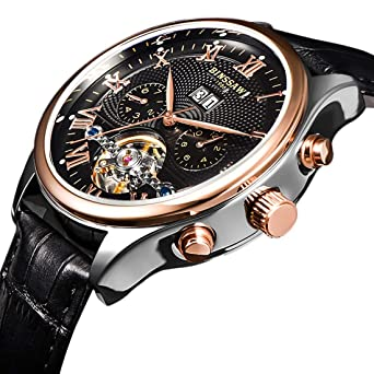 BINSSAW Men Automatic Mechanical Tourbillon Watch Brand Leather Gold Fashion Casual Stainless Steel Sports Wrist Watches