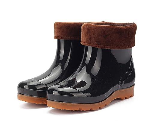 Stivaletti Gomma Uomo Chelsea Pioggia Bassi Stivali Pelliccia Lavoro  Giardino Antiscivolo Wellington Ankle Boots Nero 39 2772d319793