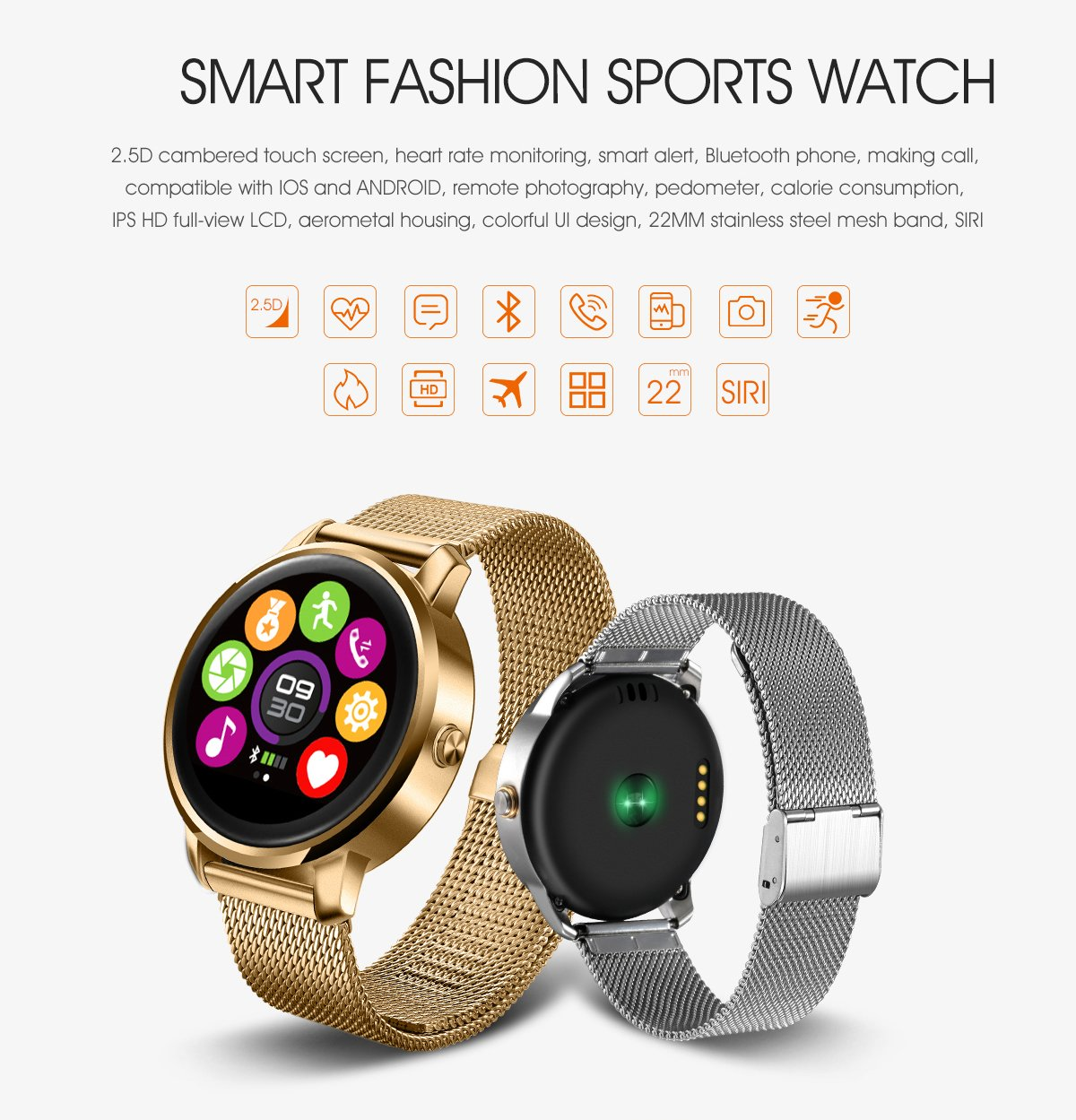 ... arrival Smart Watch Fitness Round Heart Rate monitor Bluetooth smartwatch reloj inteligente electronic wrist watches (Black): Cell Phones & Accessories