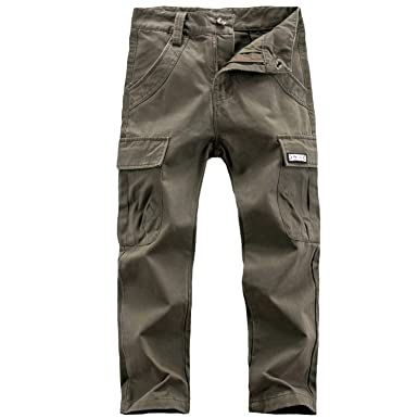 05f4ed35e BYCR Boys' Cotton Cargo Pants Button Comfort Loose Fit Multi Pocket Trousers  for Kids 4