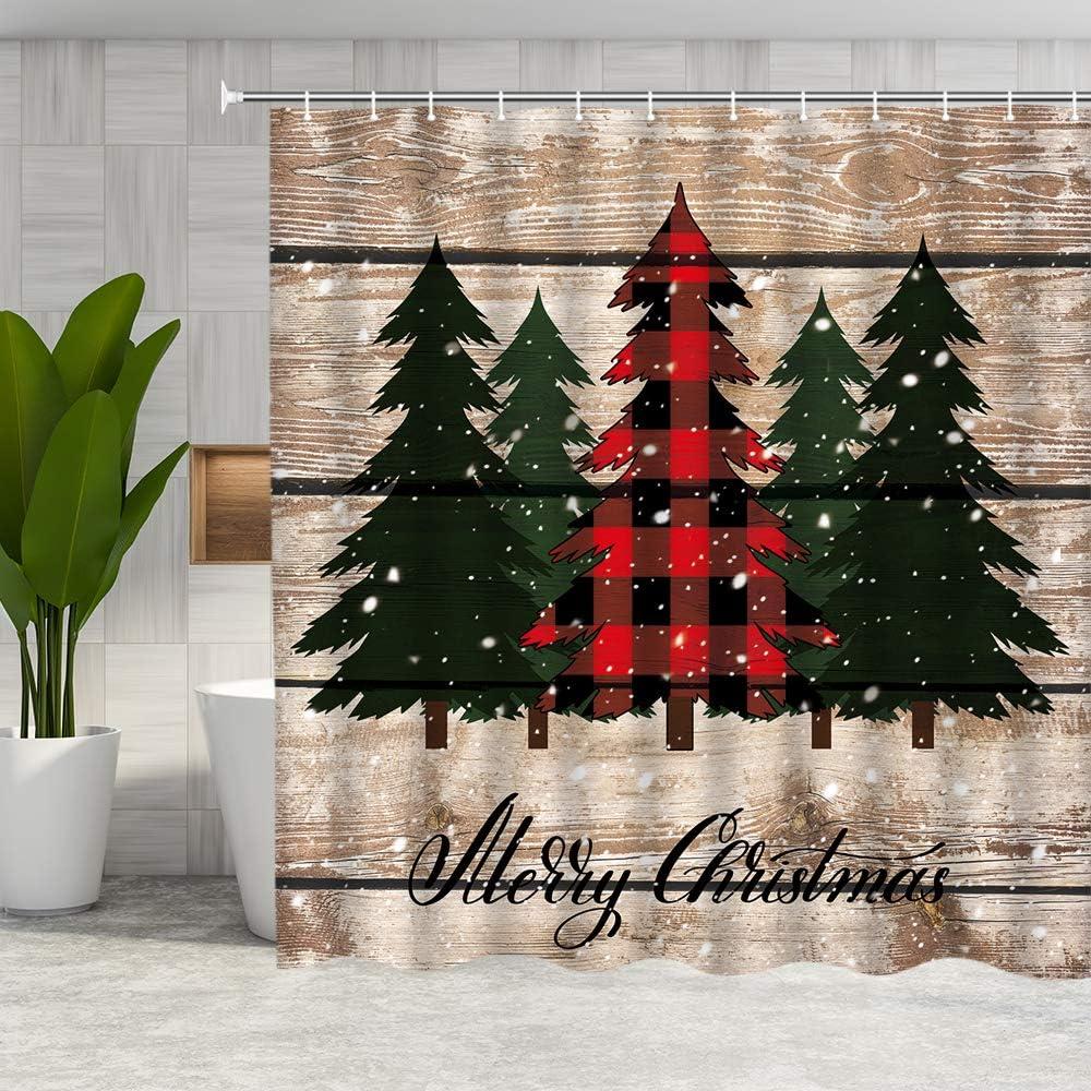 DMTTY Merry Christmas Shower Curtain Farmhouse Decor Red Green Buffalo Check Plaid Christmas Tree Bathroom Curtain Fabric Bathroom Accessories Polyester with Hooks