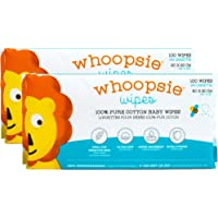 Whoopsie Wipes | Ultra-Soft - 100% Pure Cotton Dry Baby Wipes | Use Wet or Dry | Soft & Sensitive | Extra Strong…