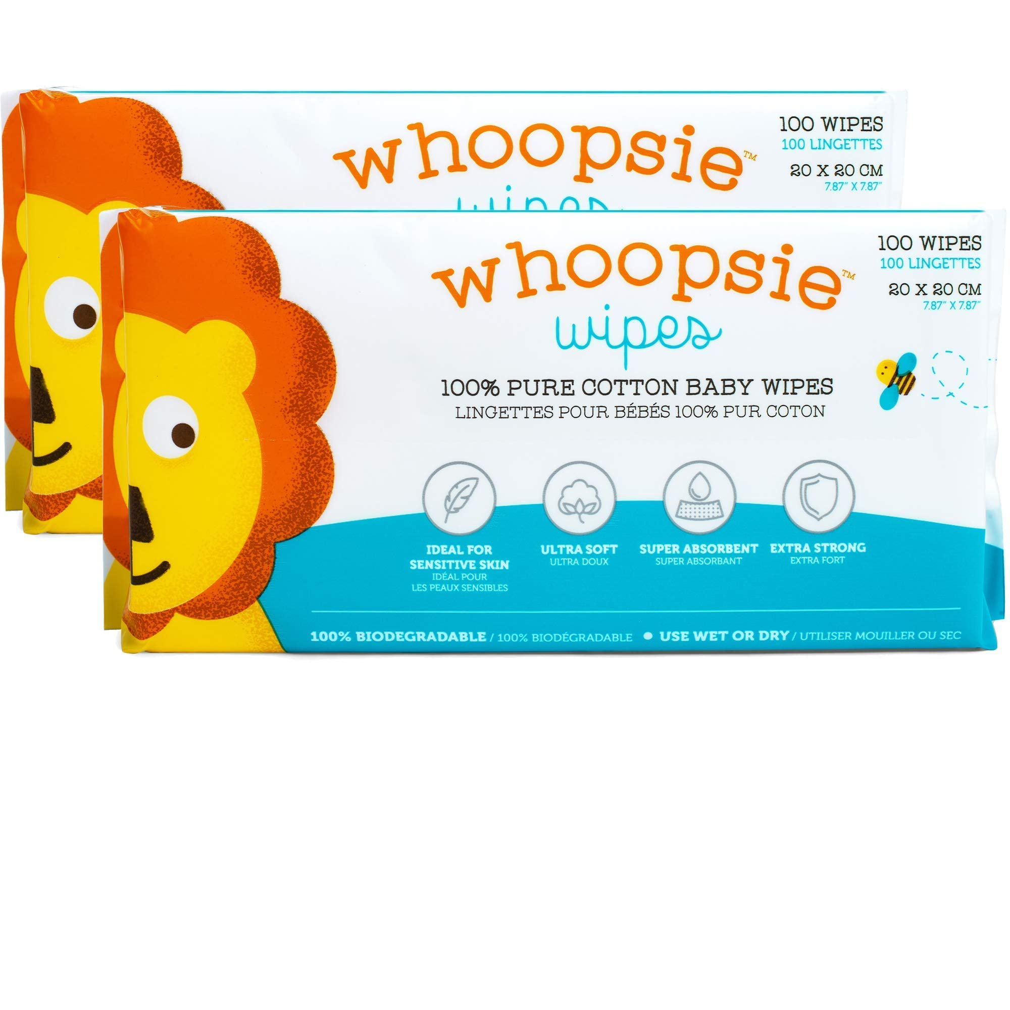 Whoopsie Wipes | Ultra-Soft – 100% Pure Cotton Dry Baby Wipes | Use Wet or Dry | Soft & Sensitive | Hypoallergenic…