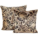 Floral Throw Pillow Covers 18 x 18 Set of 2 for Couch,Famibay Decorative Cushion Covers Rose Elegant Throw Pillow Case Set (Floral Gold)