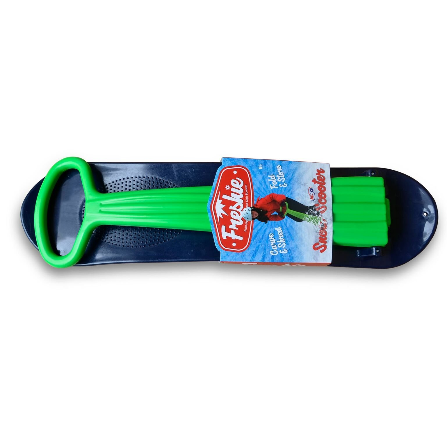 NSG Freshie Snow Scooter Sled Board, Green/Blue