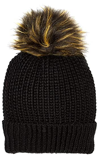 Amazon.com  Under Zero Women s Knit Beanie Hat Black with Faux Fur ... adca44250c8