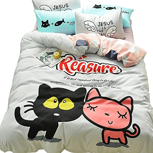 Cartoon Animal azul – Funda de edredón de conjuntos para niños 100% algodón Reversible cómodo niños ropa de cama conjuntos de funda nórdica fundas de almohada juego de cama infantil: Amazon.es: Hogar