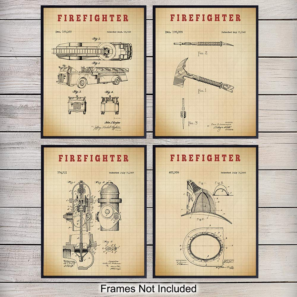 Firefighters Patent Wall Art Prints - Set of Four (8x10) Vintage Unframed Photos - Perfect Gift For Firemen and First Responders - Great Home Decor - Graph
