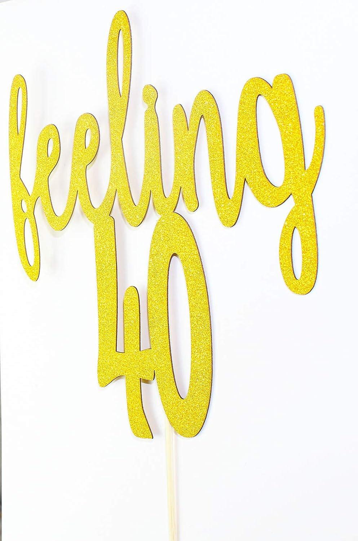 Baby Shower Anniversary Wedding Birthday Party Decoration Sign Gold 40 Starsgarden Gold Glitter Feeling 40 Cake Topper