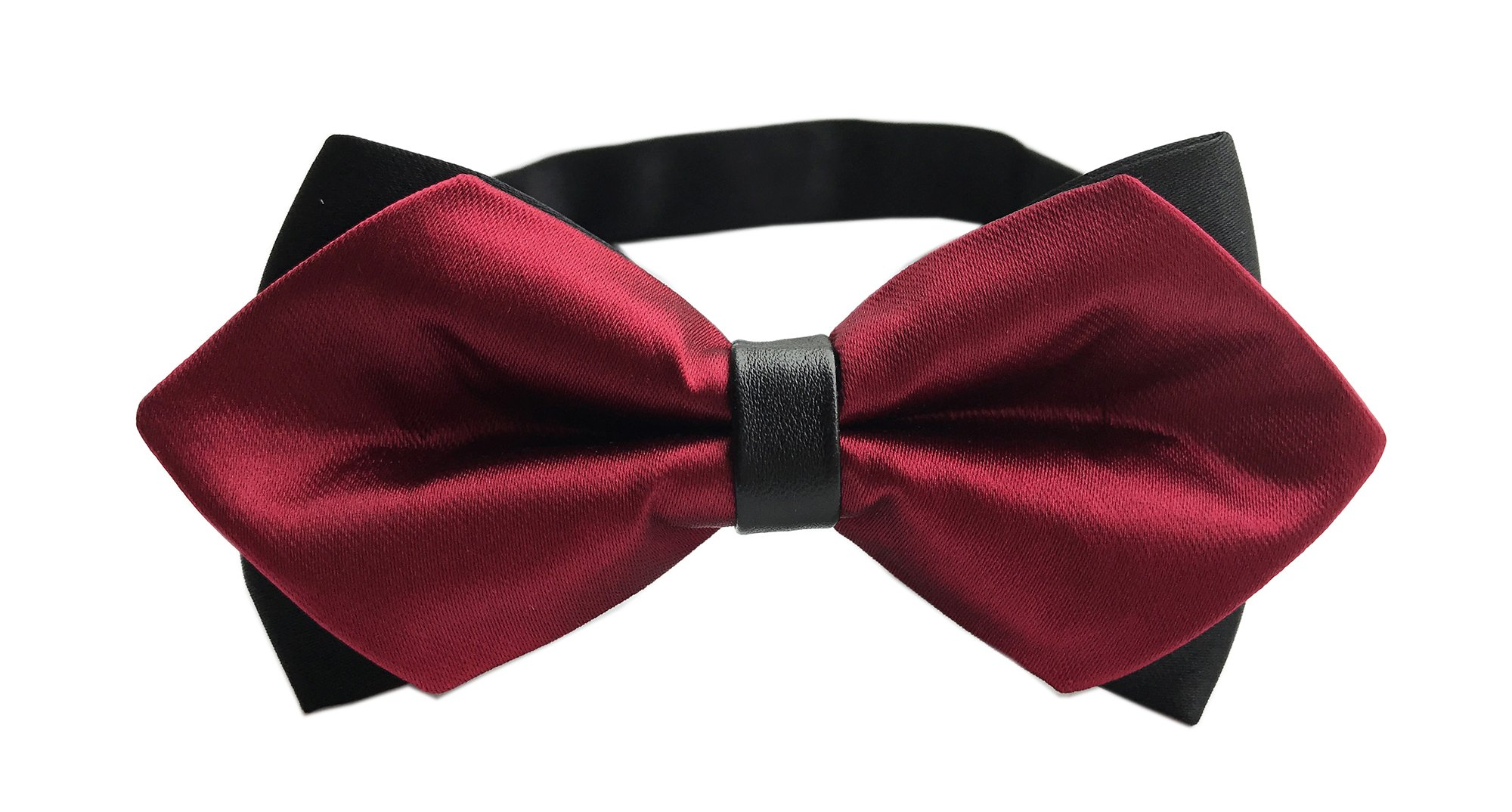 Big Boys Men's Solid Burgundy Red Bow Tie Adjustable Banded Wedding Bowties Gift