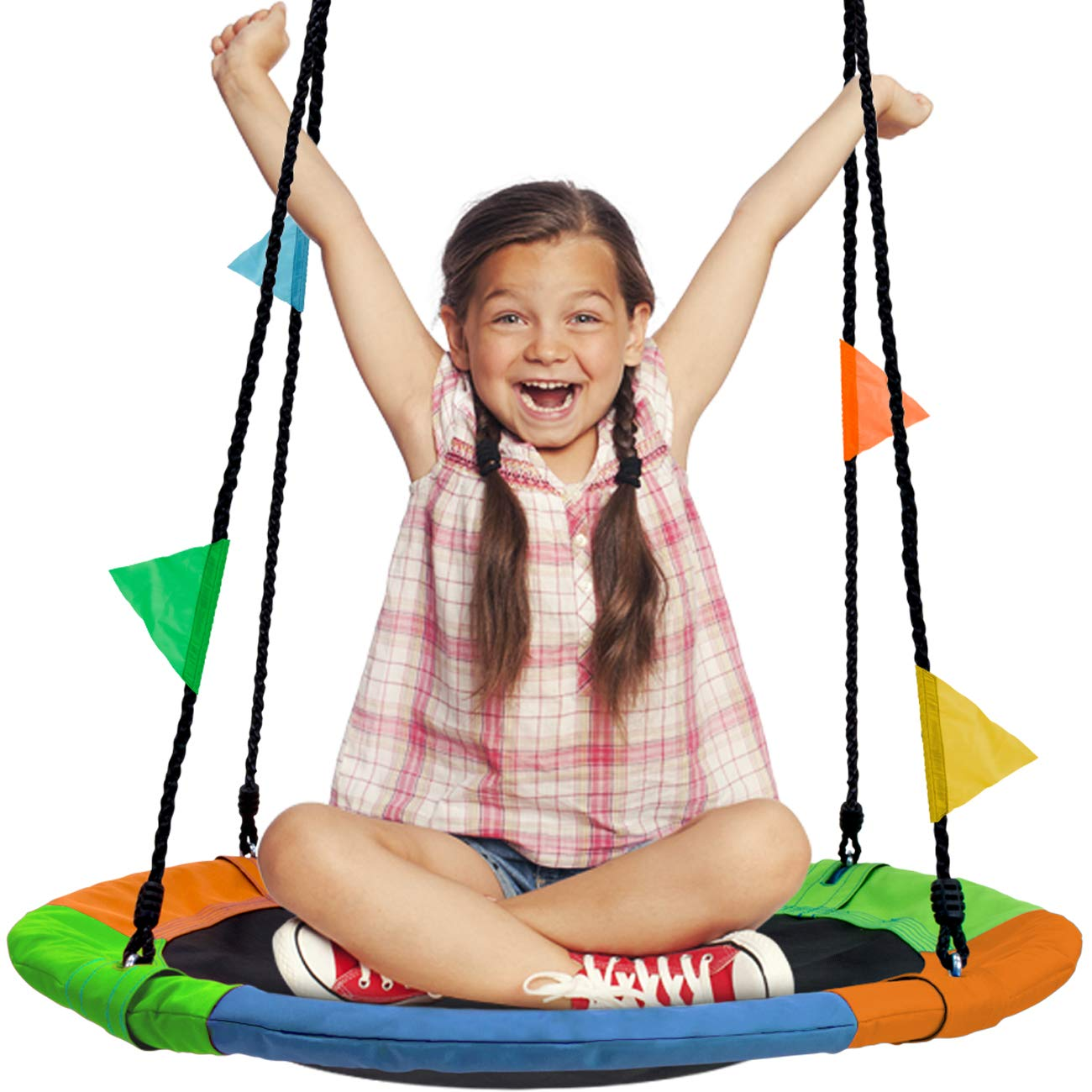 Sorbus Saucer Tree Swing in Multi-Color Rainbow - Kids Indoor/Outdoor Round Mat Swing - Great for Tree, Swing Set, Backyard, Playground, Playroom - Accessories Included (Round - 24'') by Sorbus (Image #2)