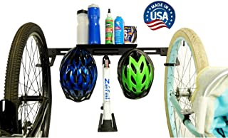 product image for Koova Wall Mount Bike Storage Rack Garage Hanger for 2 Bicycles + Helmets | Fits All Bikes Even Large Cruisers / Big Tire Mountain Bikes | Heavy Duty Powder Coated Steel | Made In USA (2 Bike Rack)