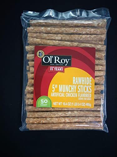 Ol Roy Rawhide 5 Munchy Sticks Dog Treats 50 Count Per Bag