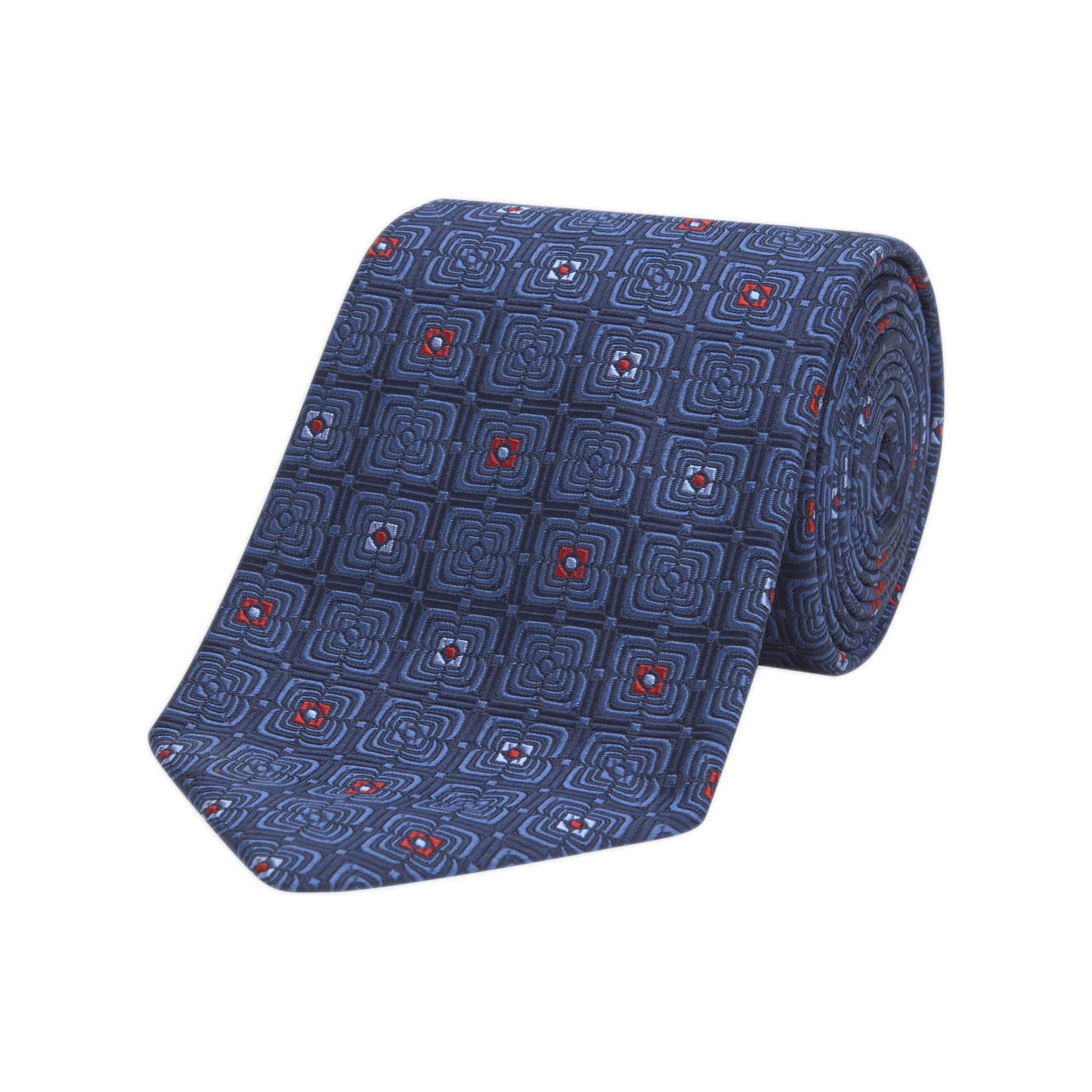 Turnbull & Asser Geometric Floral Silk Neck Tie, Navy/Red