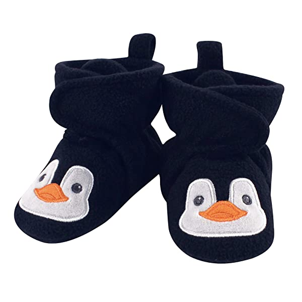 Hudson Baby Unisex Baby Cozy Fleece Booties with Non Skid Bottom, Navy penguin, 18-24 Months (Color: Navy Penguin, Tamaño: 18-24 Months Infant)