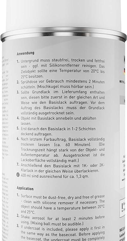 Mg Prime Autolack Spraydose Für Skoda La7w 8e Reflexsilber Metallic Brilliant Silber Metallic Basislack Sprühdose 400ml Auto