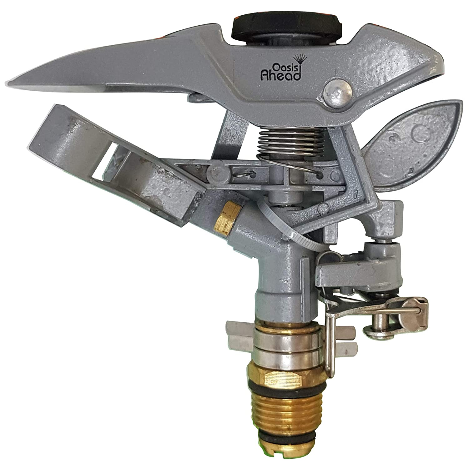 Oasis Ahead Metal Lawn Sprinkler K-300 With Long Range Pulsating Head For Up To 360 Degrees Watering Of Your Garden Including Water Shut Off Valve