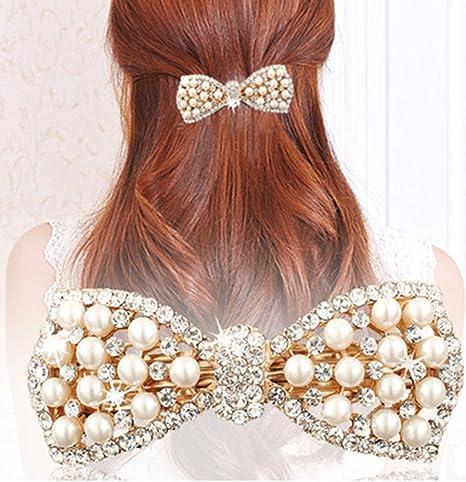 UK Fashion Women Girl Hair Accessories Crystal Pearl Hairpin Hair Clip Barrette
