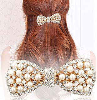 TOOKY Pearl Pin Crystal Ribbon Bow Hair Clips Lj1J9v86H