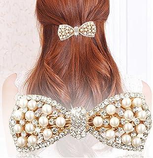 TOOKY Pearl Pin Crystal Ribbon Bow Hair Clips