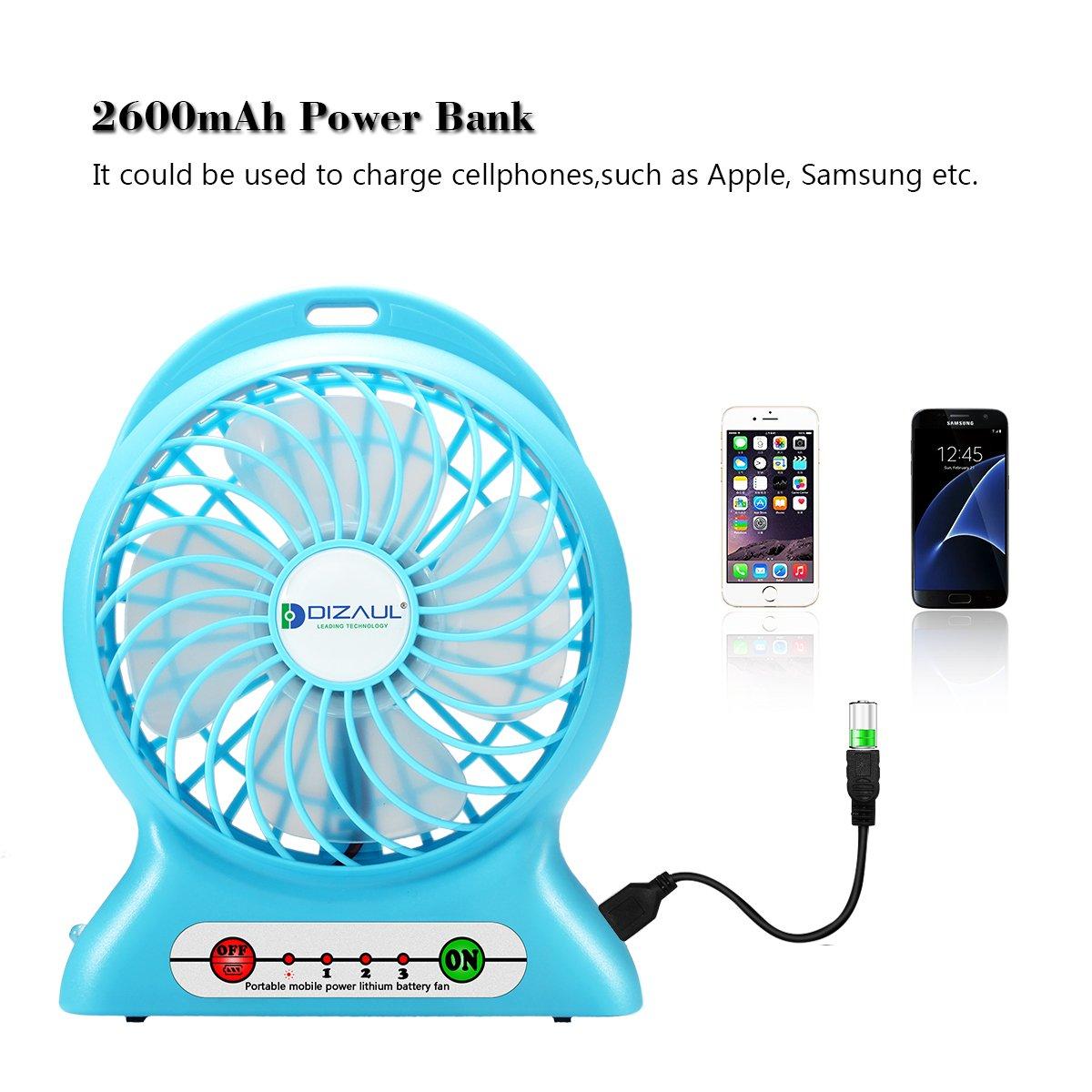 Amazon.com: Portable Fan, Dizaul mini usb rechargeable fan with ...