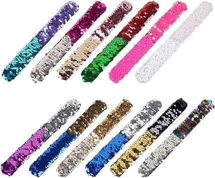 Tomaibaby Doce brazaletes Slap con Dos Colores Brillantes y durables,Flash Slap,Slap,Fiesta de cumpleaños.: Amazon.es: Juguetes y juegos