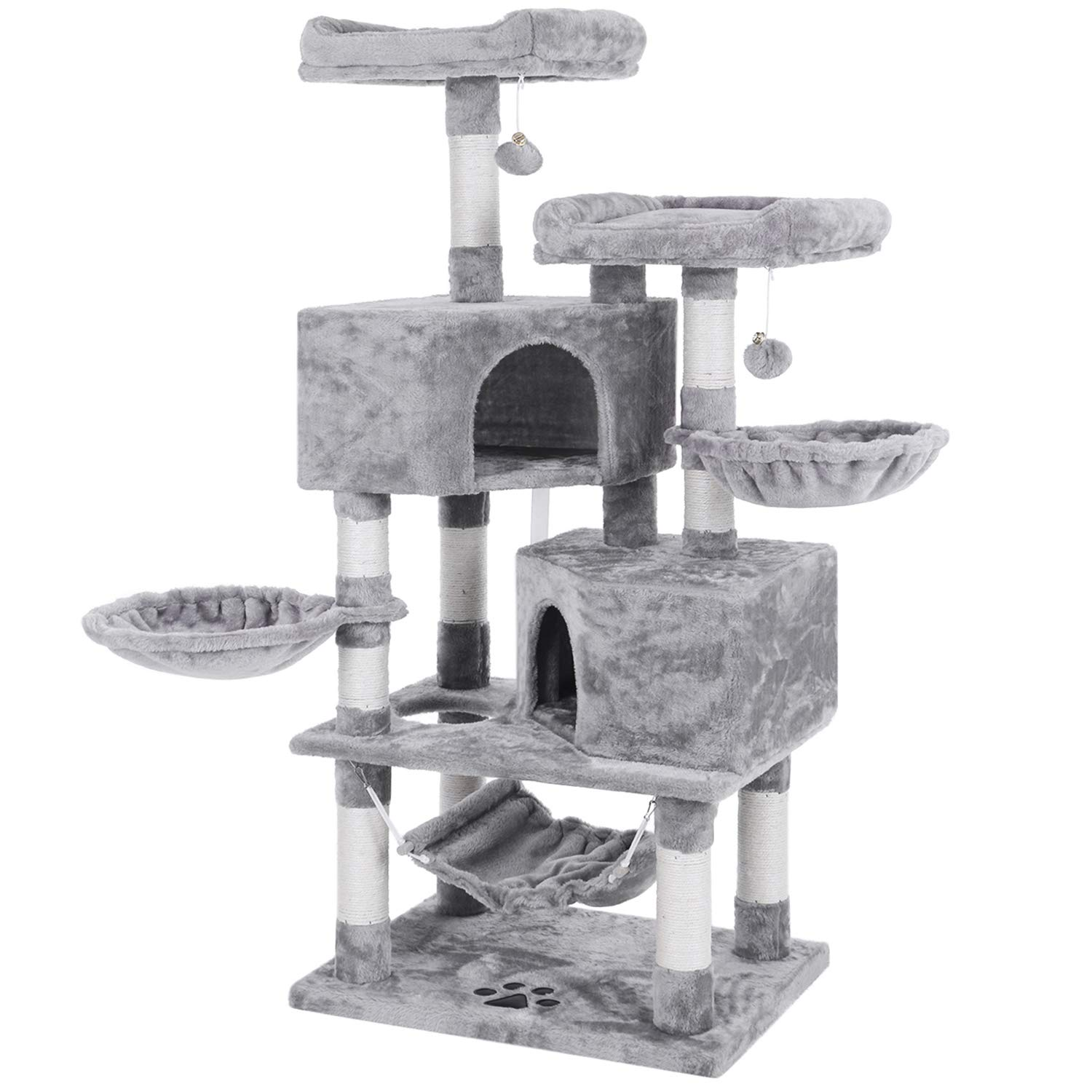 BEWISHOME Multi-Level Cat Tree Condo with Sisal Scratching Posts, Perches, Houses, Hammock and Baskets, Cat Tower Furniture Kitty Activity Center Kitten Play House Light Grey MMJ05G by BEWISHOME