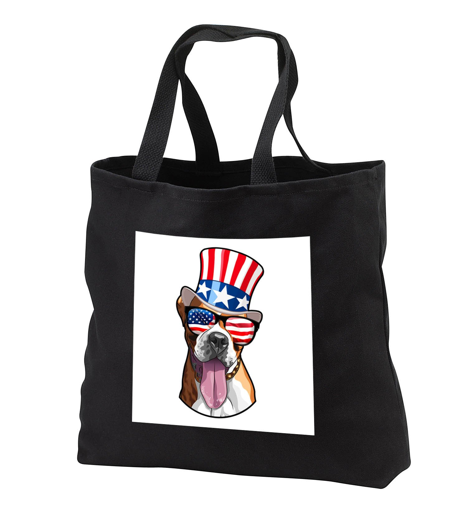 Patriotic American Dogs - Boxer Dog With American Flag Sunglasses and Top hat - Tote Bags - Black Tote Bag 14w x 14h x 3d (tb_282710_1)