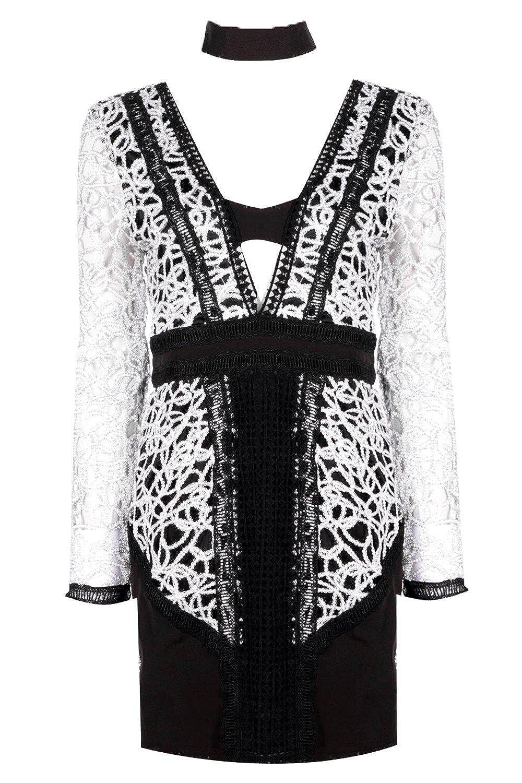 Black Womens Boutique Hana Metalic Plunge Bodycon Dress